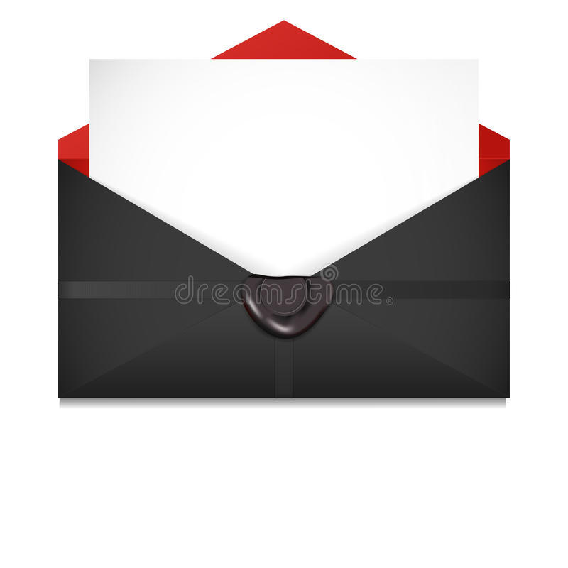 开放的信包 封印 库存例证