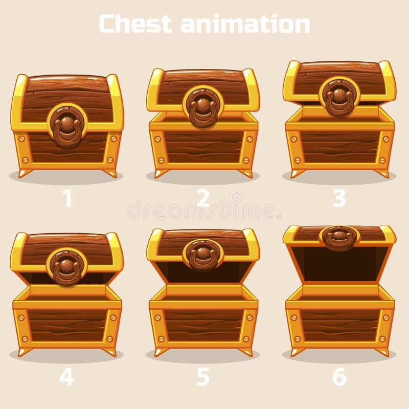 开放的动画和逐步闭合的木胸口 皇族释放例证
