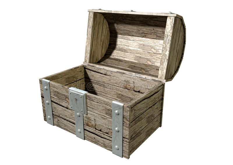 开放的宝物箱倒空 向量例证