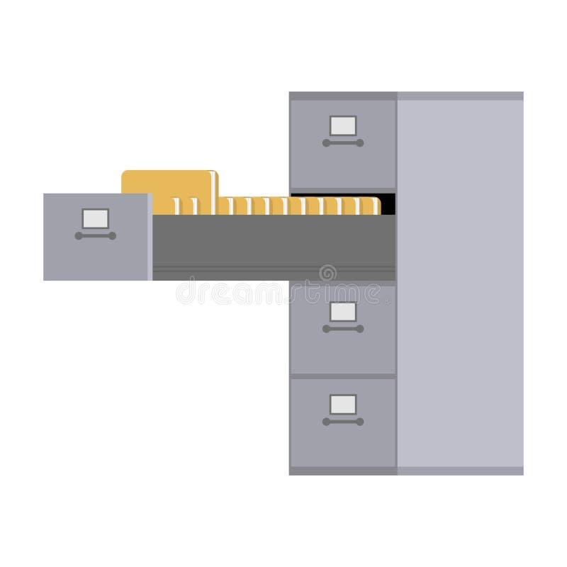 开放的文件柜 卡片索引文件的铁箱子 办公室fu 向量例证