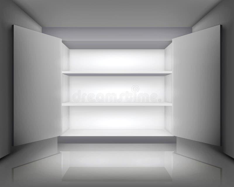 开放的机柜 也corel凹道例证向量 皇族释放例证