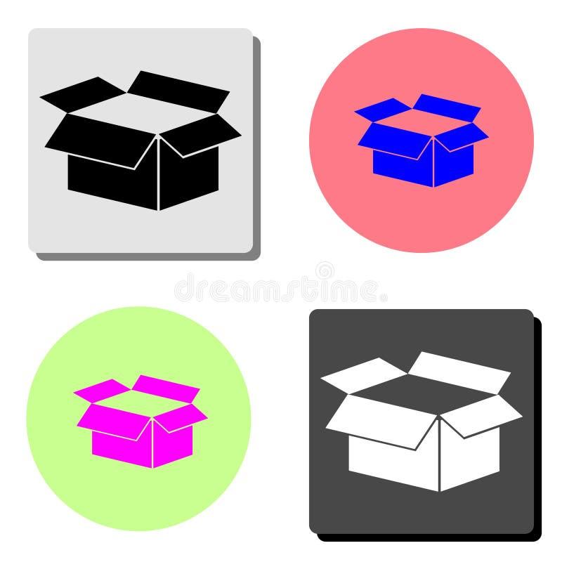 开放的配件箱 平的传染媒介象 库存例证