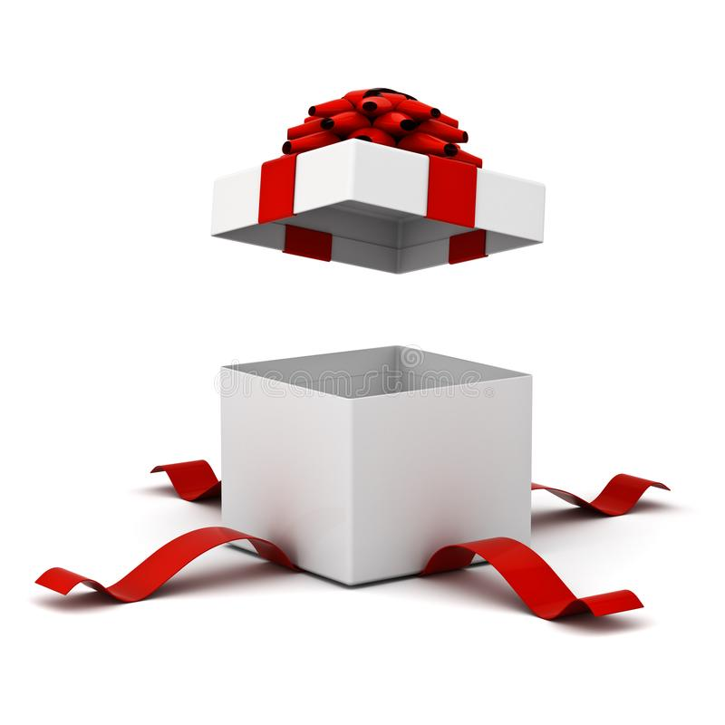 开放礼物盒,有在白色背景隔绝的红色丝带弓的当前箱子 向量例证