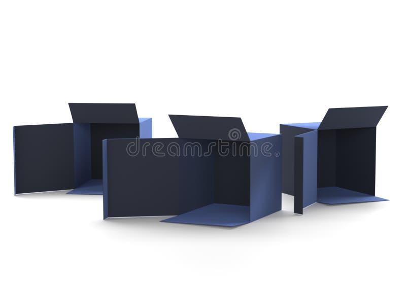开放礼物蓝色框纸板大模型 打开纸盒纸板箱交付运输的容器包裹 当前的配件箱 库存例证