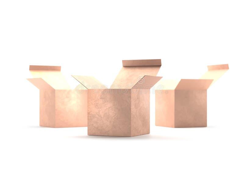开放礼物金黄箱子纸板大模型 打开纸盒纸板箱交付运输的容器包裹 当前的配件箱 库存例证