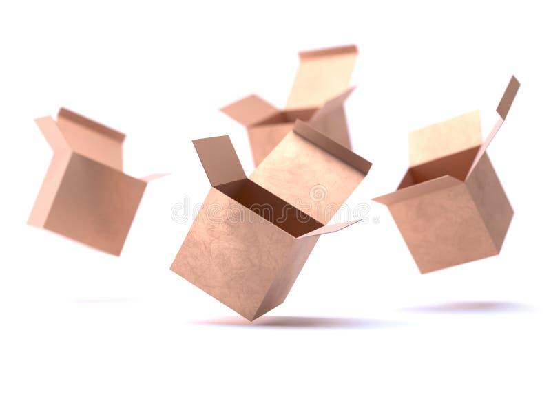 开放礼物金黄箱子纸板大模型 打开纸盒纸板箱交付运输的容器包裹 当前的配件箱 皇族释放例证