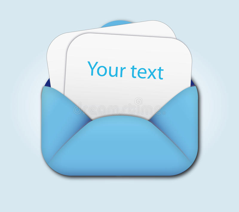 开放空白信包的信函 库存例证