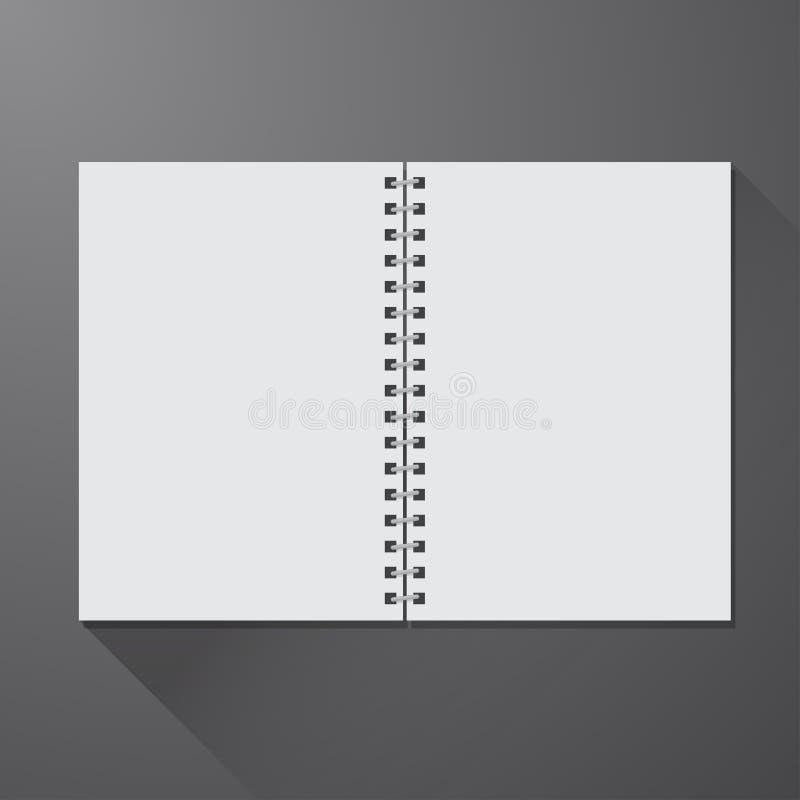 开放空白的笔记本 库存例证