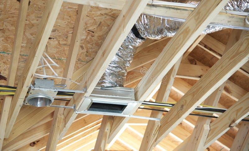 开放空调和热化的输送管 免版税库存图片