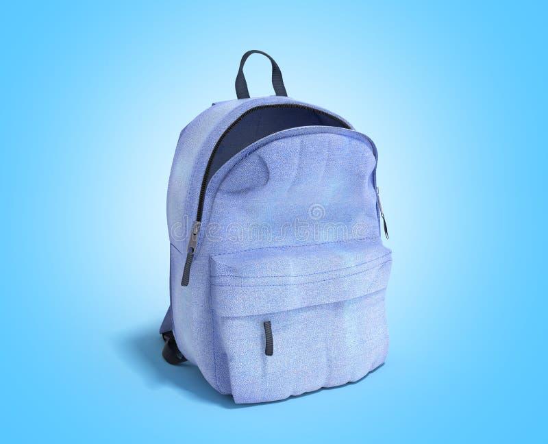 开放背包袋子学校3d在蓝色梯度回报 向量例证