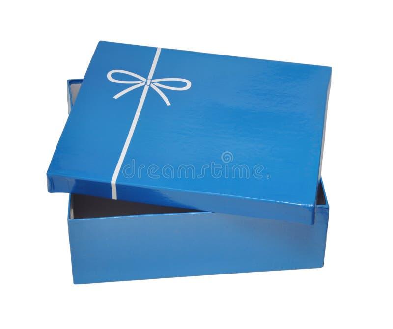 开放蓝色框的礼品 免版税库存图片