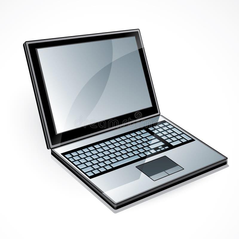 开放计算机的膝上型计算机 皇族释放例证