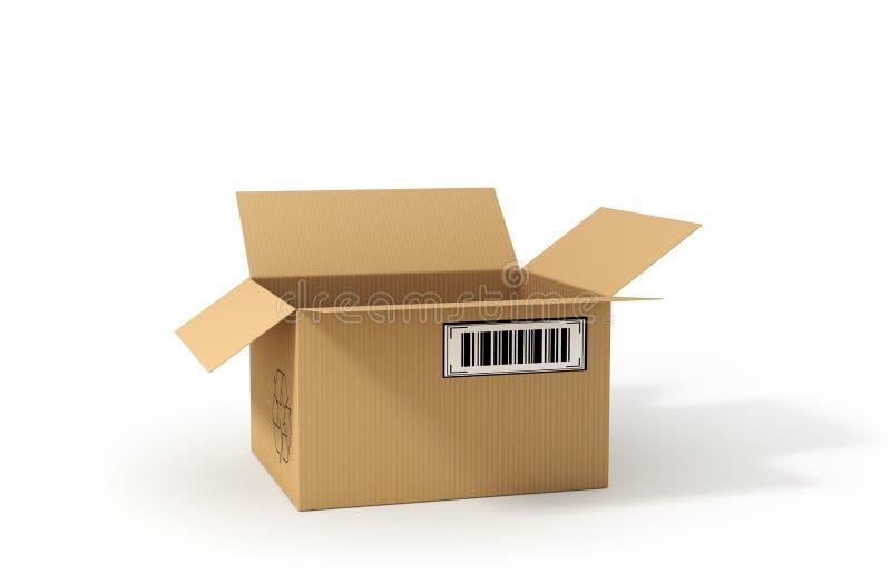 开放配件箱的纸板 发运 3d例证 向量例证