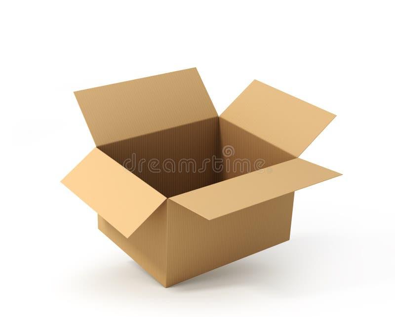 开放配件箱的纸板 发运 3d例证 皇族释放例证