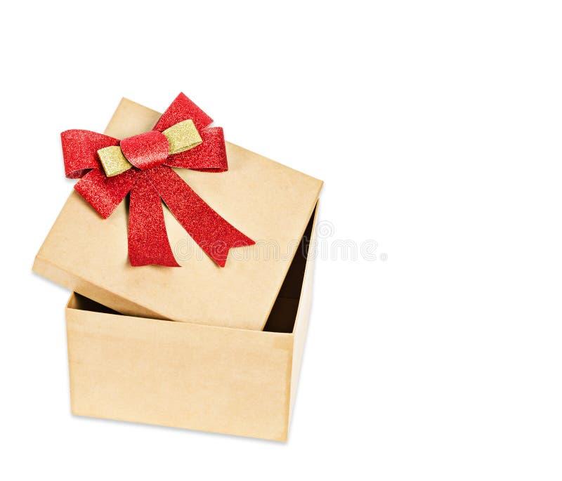 开放配件箱棕色的礼品 免版税库存图片
