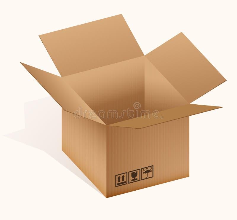 开放配件箱的纸板 库存例证