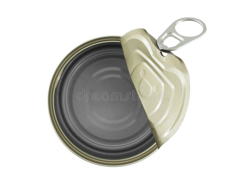 开放铝罐在白色背景隔绝的罐头和空 库存照片