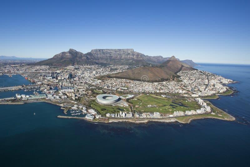 开普敦桌山南非鸟瞰图  图库摄影