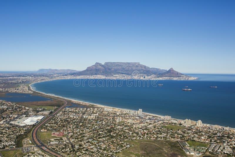 开普敦桌山南非鸟瞰图  库存照片