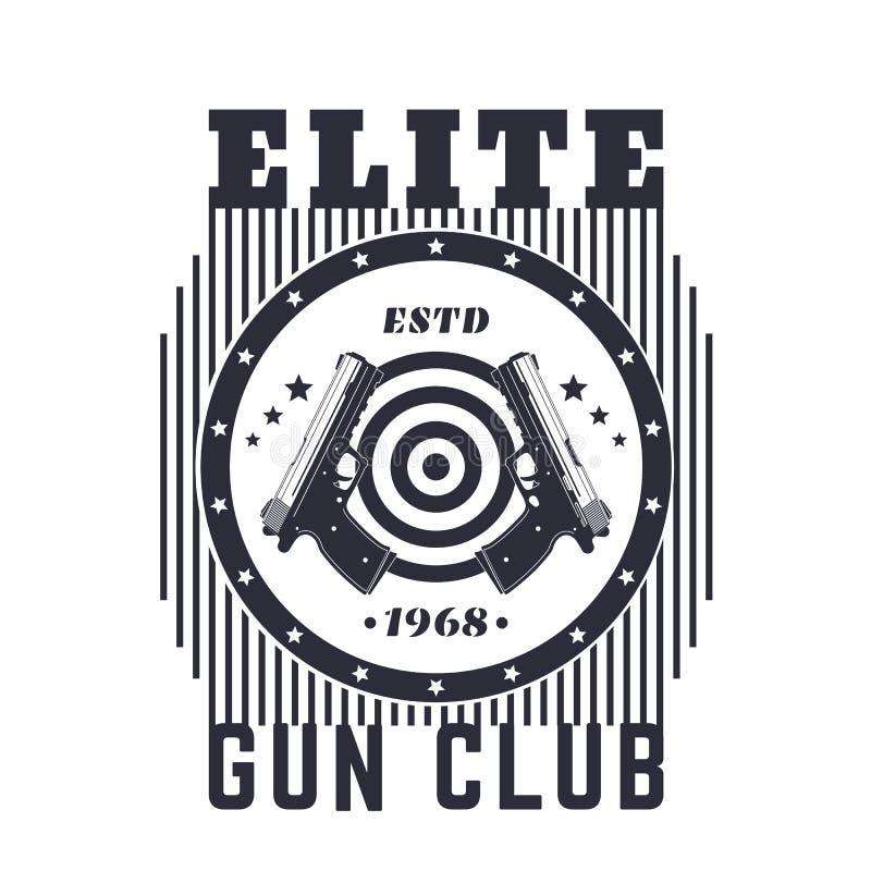 开枪俱乐部葡萄酒象征,与手枪的印刷品 皇族释放例证