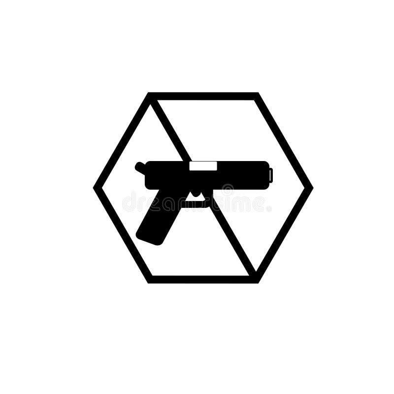 开枪在白色背景隔绝的象传染媒介,枪标志 库存例证