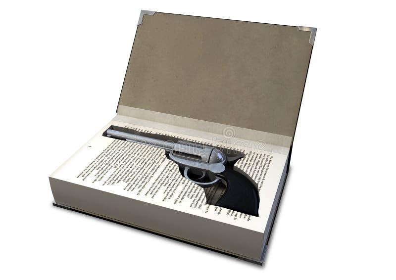 开枪隐瞒在书 库存图片