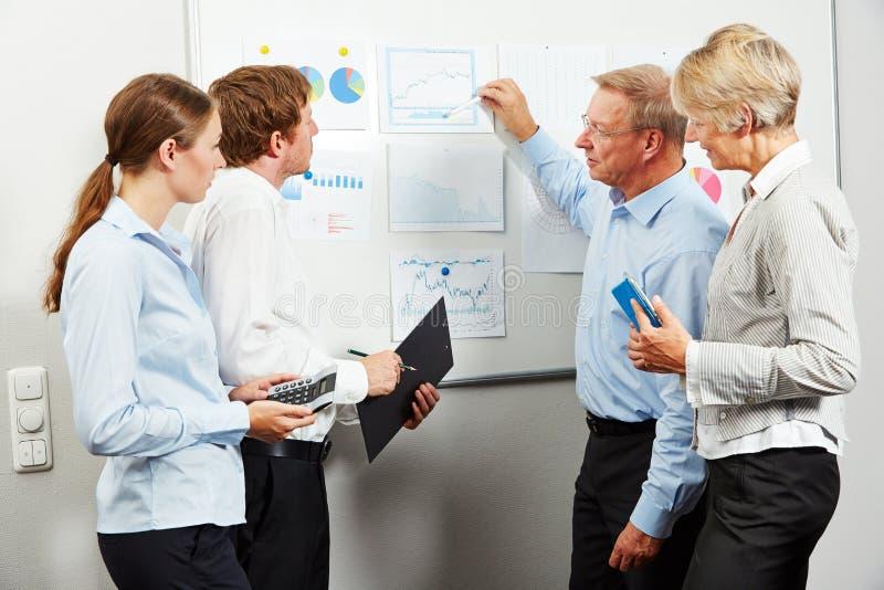 开的商人关于办公室的会议 免版税库存照片