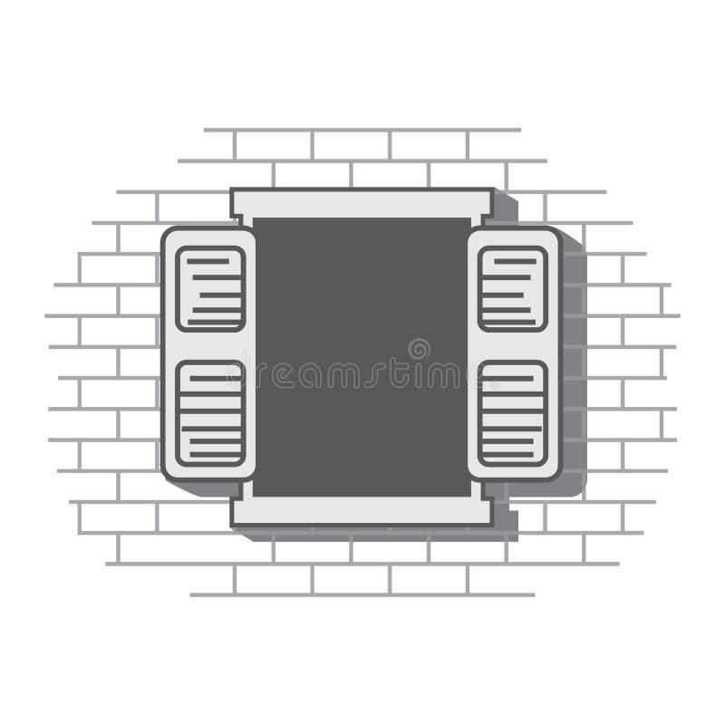 开窗口在砖房子里 库存例证