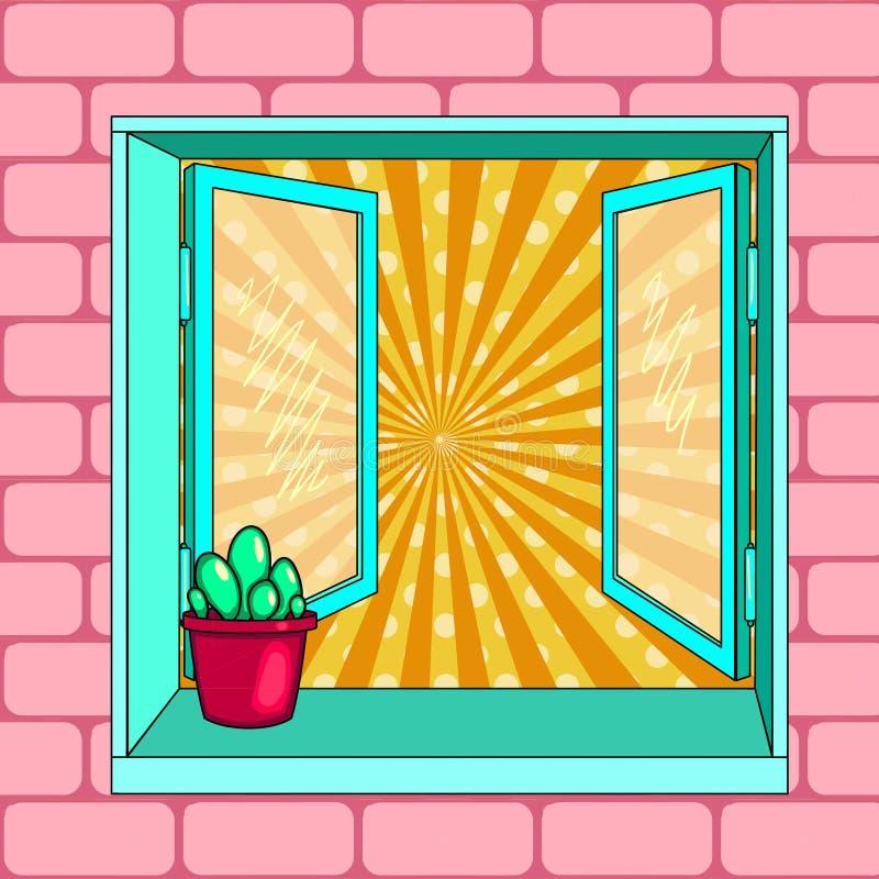 开窗口,仙人掌 流行艺术传染媒介 向量例证