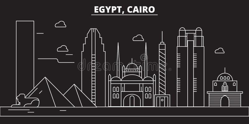 开罗剪影地平线 埃及-开罗传染媒介城市,埃及线性建筑学,大厦 开罗线旅行 皇族释放例证