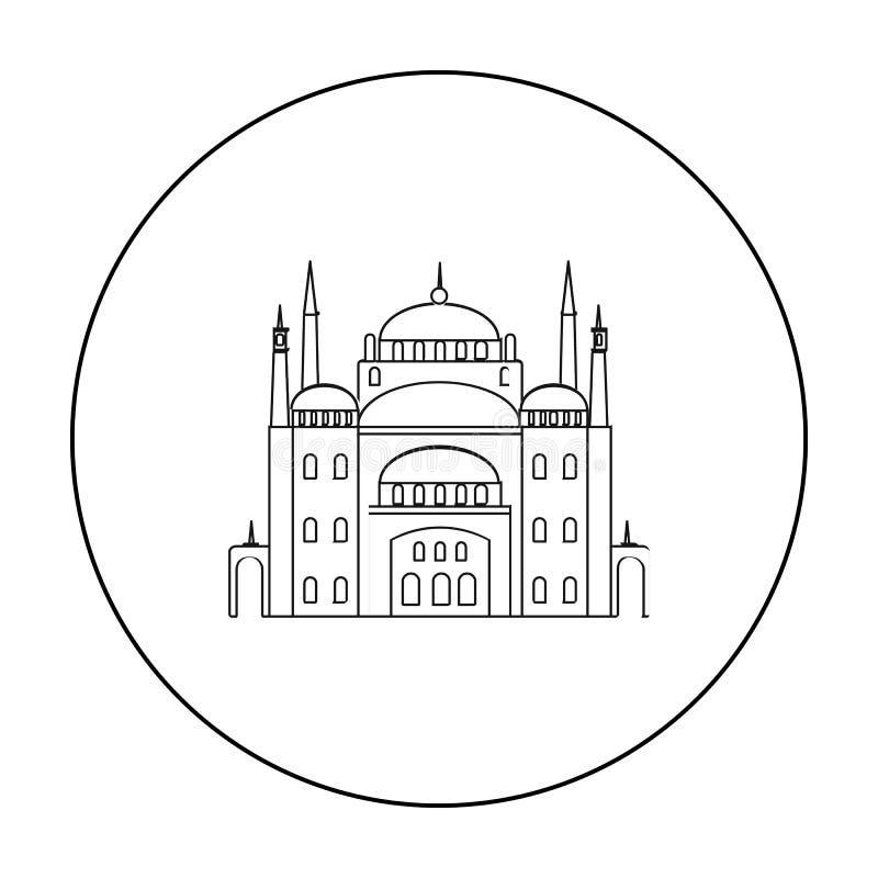 开罗在白色背景在概述样式的城堡象隔绝的 古埃及标志股票传染媒介例证 库存例证
