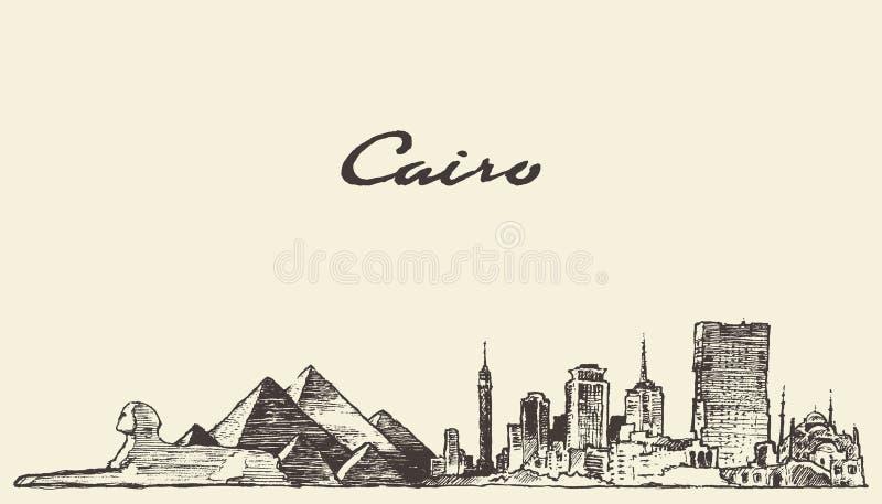 开罗地平线埃及例证被画的剪影 向量例证