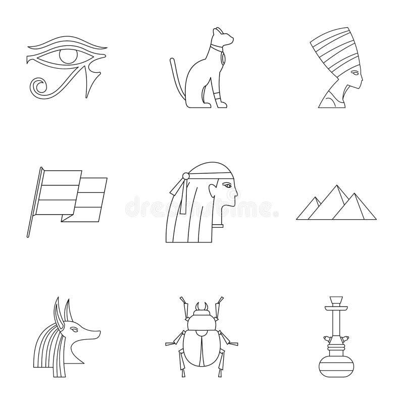 开罗被设置的旅行象,概述样式 向量例证
