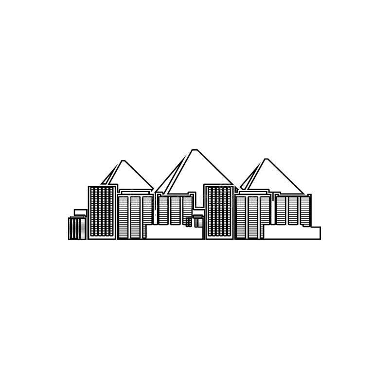 开罗象都市风景  都市风景的元素流动概念和网应用程序象的 概述,网站设计的稀薄的线象和 向量例证