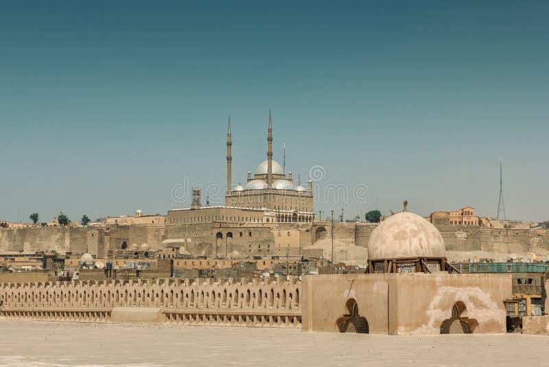 开罗都市风景有在雪花石膏清真寺的看法 免版税图库摄影