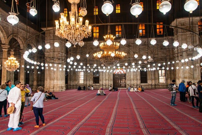 开罗,埃及,25 05 2018开罗,埃及伟大的穆罕默德・阿里雪花石膏清真寺城堡  免版税库存照片