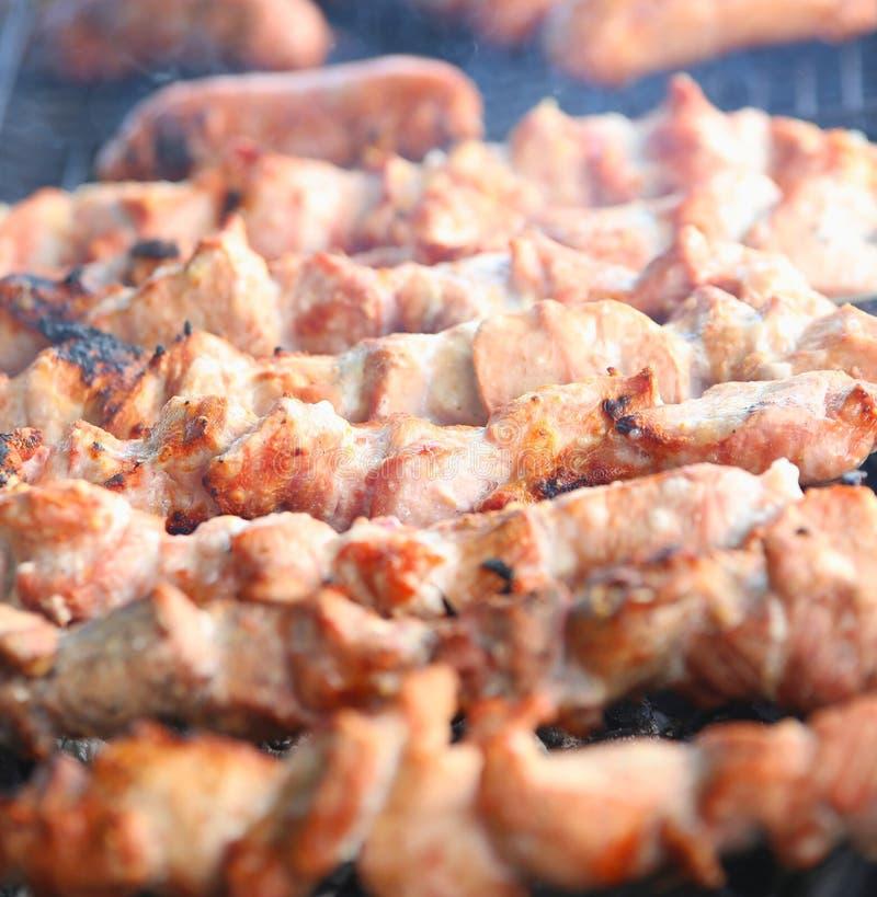 开胃新鲜的肉烤肉串(shashlik) 库存照片
