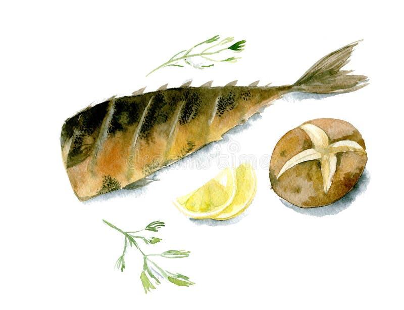 开胃烤鱼用柠檬、被烘烤的土豆和荷兰芹 在白色背景隔绝的水彩例证 库存例证