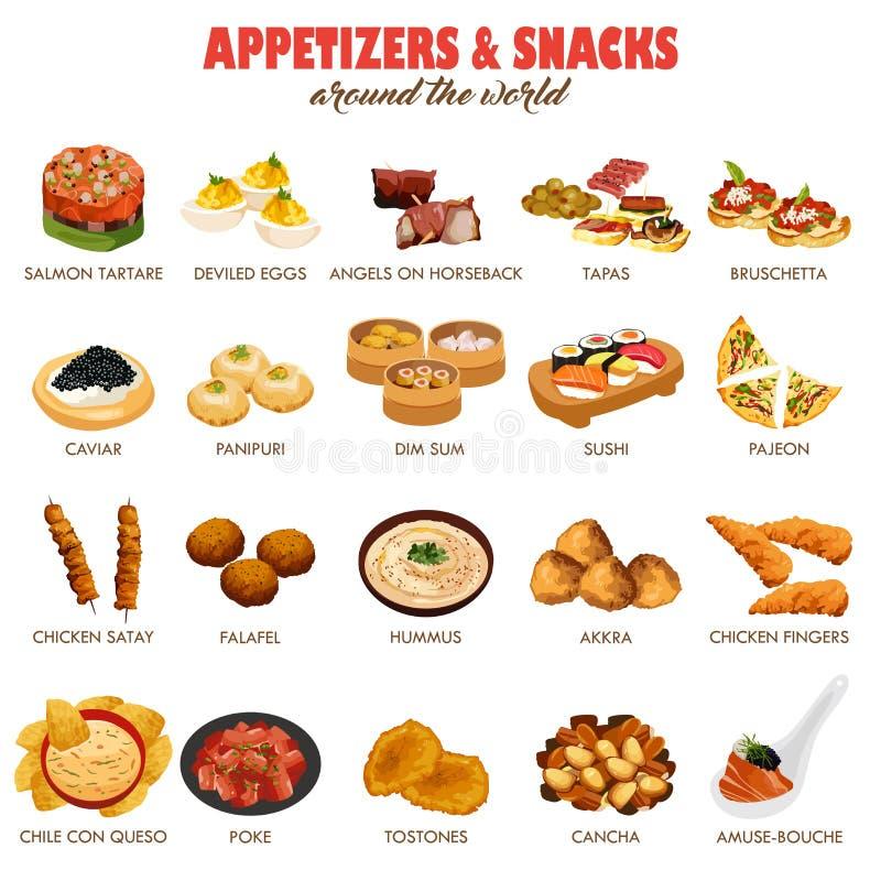 开胃菜和快餐象 向量例证