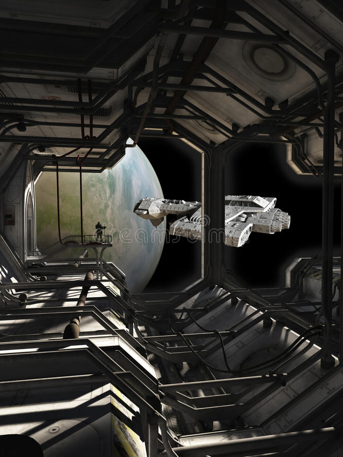 离开船坞的太空飞船 向量例证