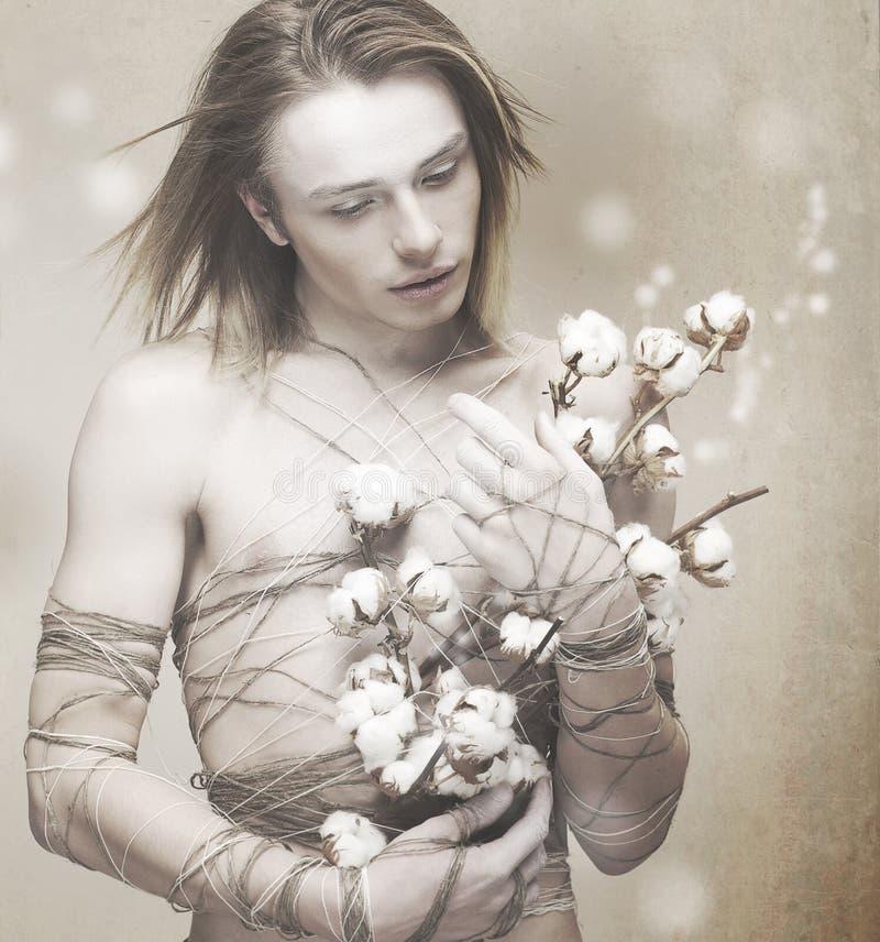 开花。 有花的时髦的人在被弄脏的背景。 欢欣 图库摄影