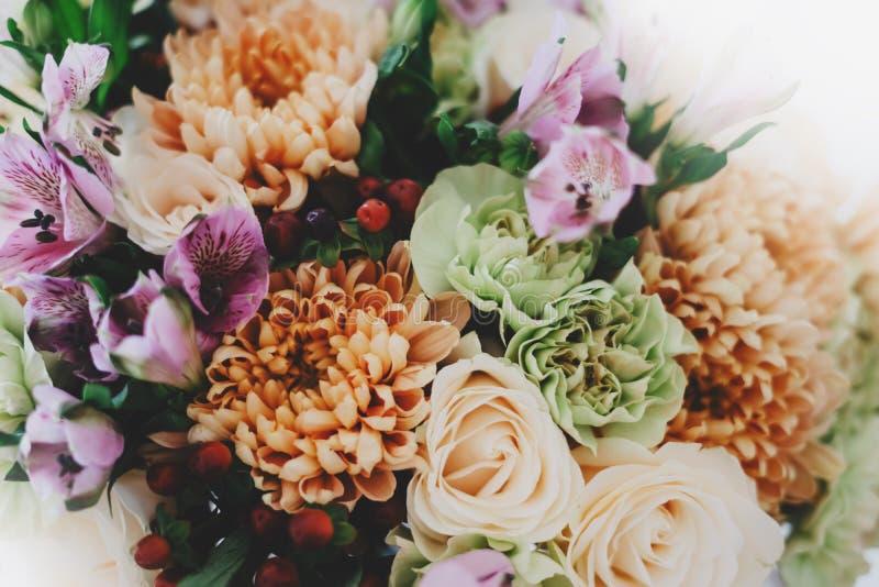 开花上升了与雨,花和母亲,新鲜的美丽的玫瑰特写镜头, moc水下落在绿色背景的爱妇女的 免版税库存照片