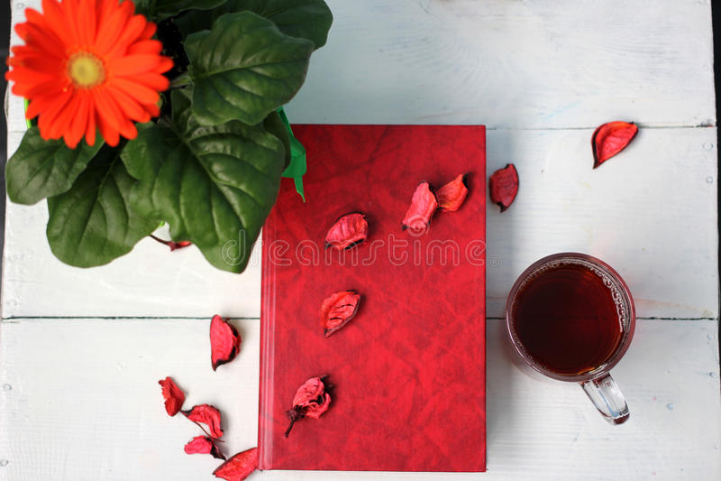 开花与一杯茶和在一张白色桌上的一本书 库存照片