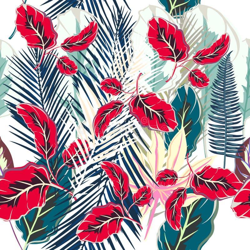 开花与五颜六色的棕榈植物的热带传染媒介样式 向量例证