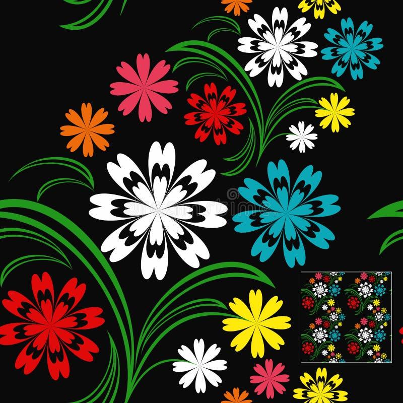 开花与五颜六色的花的无缝的样式在a 库存例证