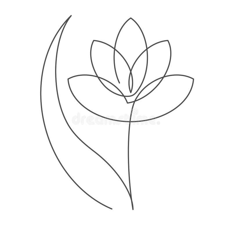 开花与叶子实线与编辑可能的冲程的传染媒介例证花卉设计或商标的 向量例证