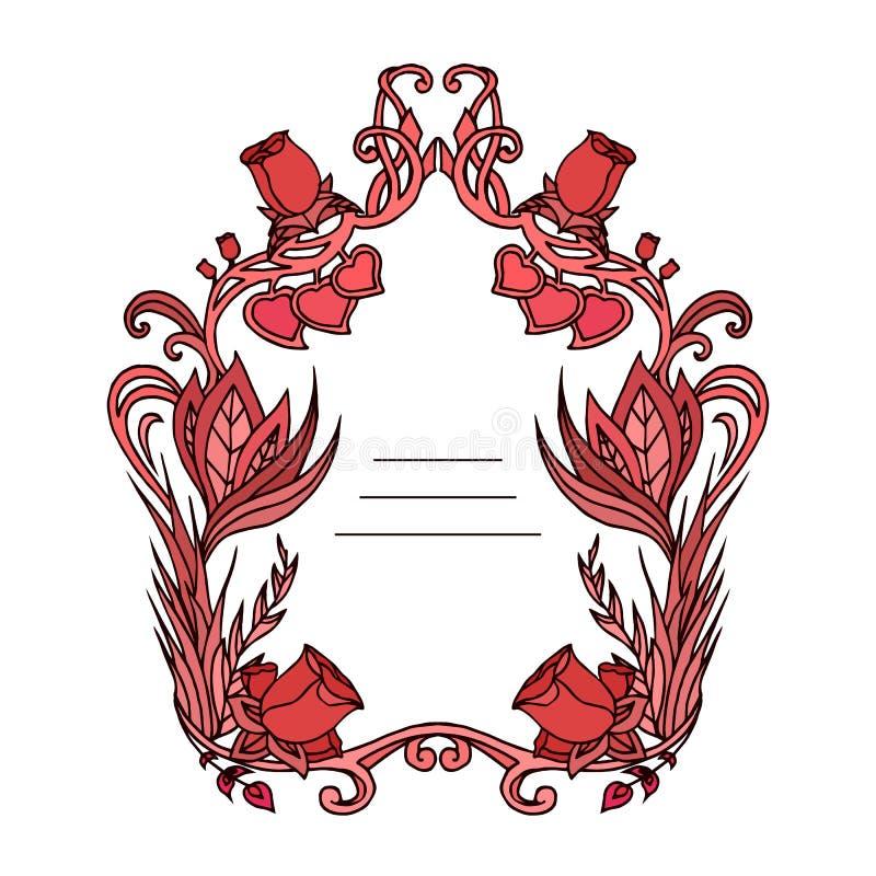 开花与玫瑰、藤和地方的框架文本的 库存例证