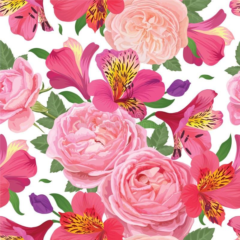 开花与美丽的桃红色德国锥脚形酒杯百合花和玫瑰的无缝的样式在白色背景模板 免版税库存照片