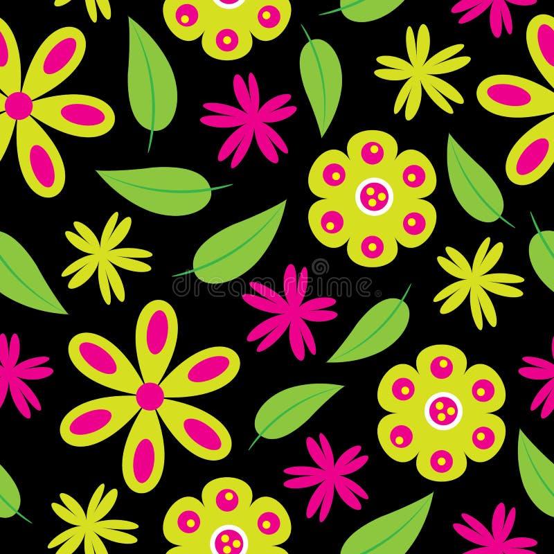开花与绿色和桃红色花的无缝的样式在墙纸的黑背景 向量例证