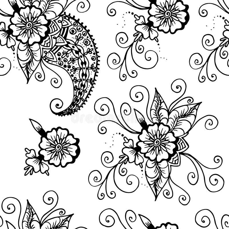 开花佩兹利 抽象线性图画 无缝的模式 在空白背景的黑色 库存例证